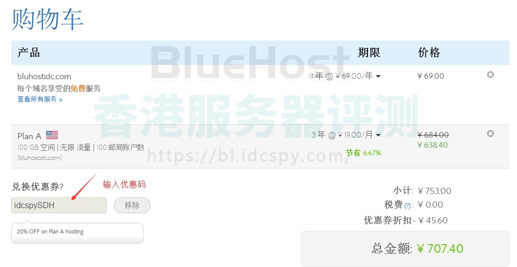 BlueHost购物车