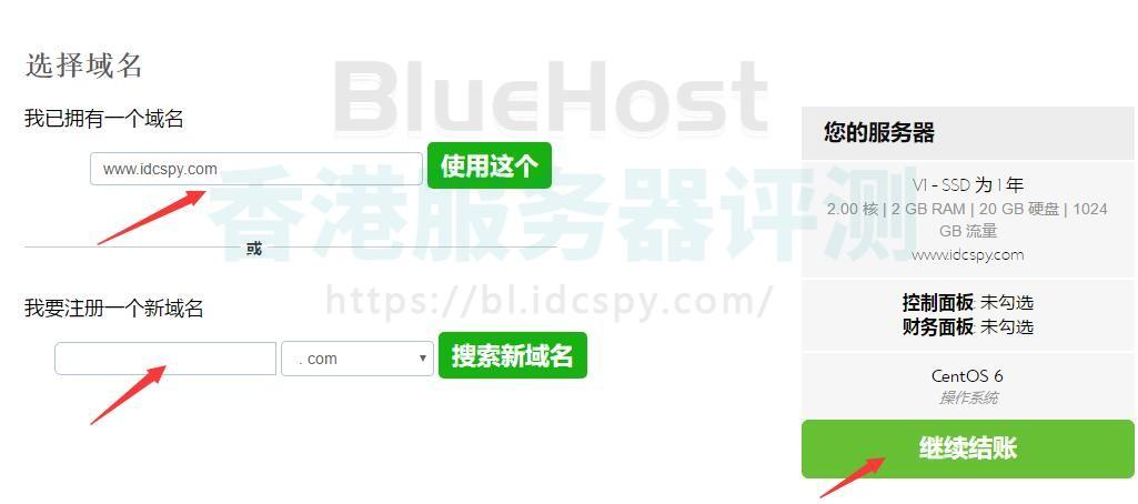 BlueHost VPS选择域名页面