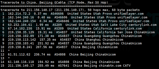 Bluehost美国SSD服务器随机回程路由测试