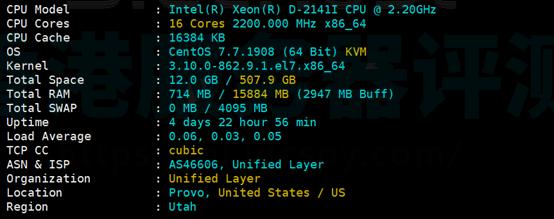 美国SSD服务器配置信息