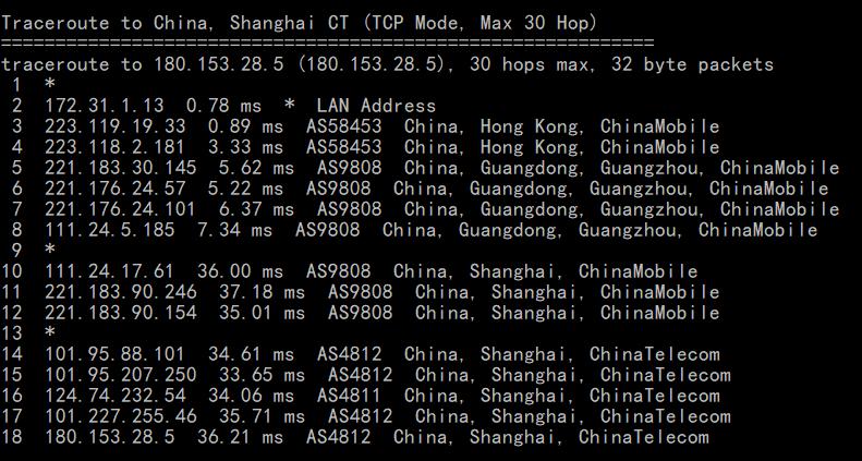 BlueHost香港服务器回程路由追踪
