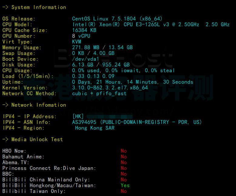 BlueHost香港服务器CPU内存现成测试