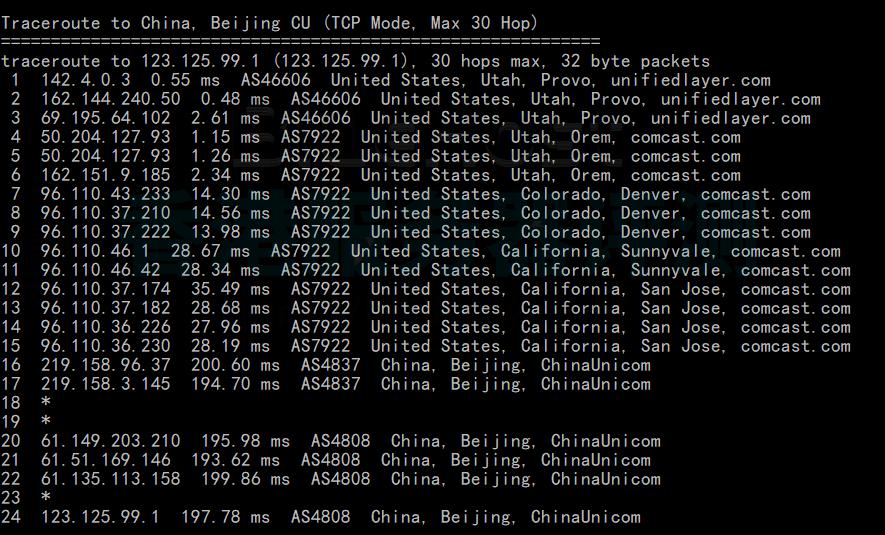 BlueHost美国服务器回程路由追踪