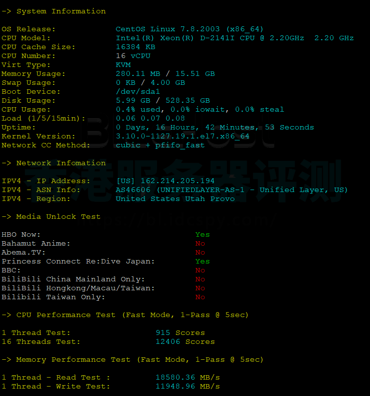 BlueHost美国服务器CPU内存现成测试