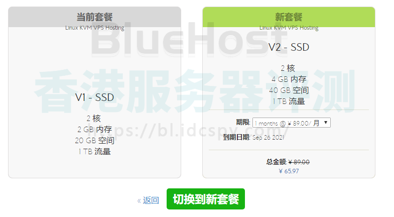 BlueHost VPS云主机升级
