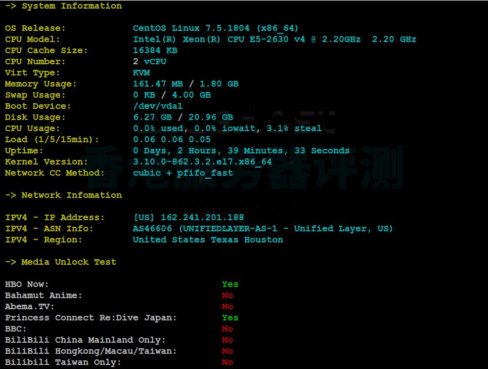 BlueHost VPS主机CPU内存现成测试