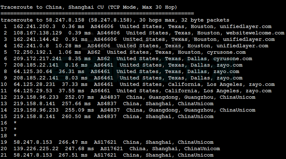 BlueHost VPS主机回程路由器追踪